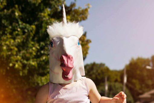 homme avec un masque de licorne